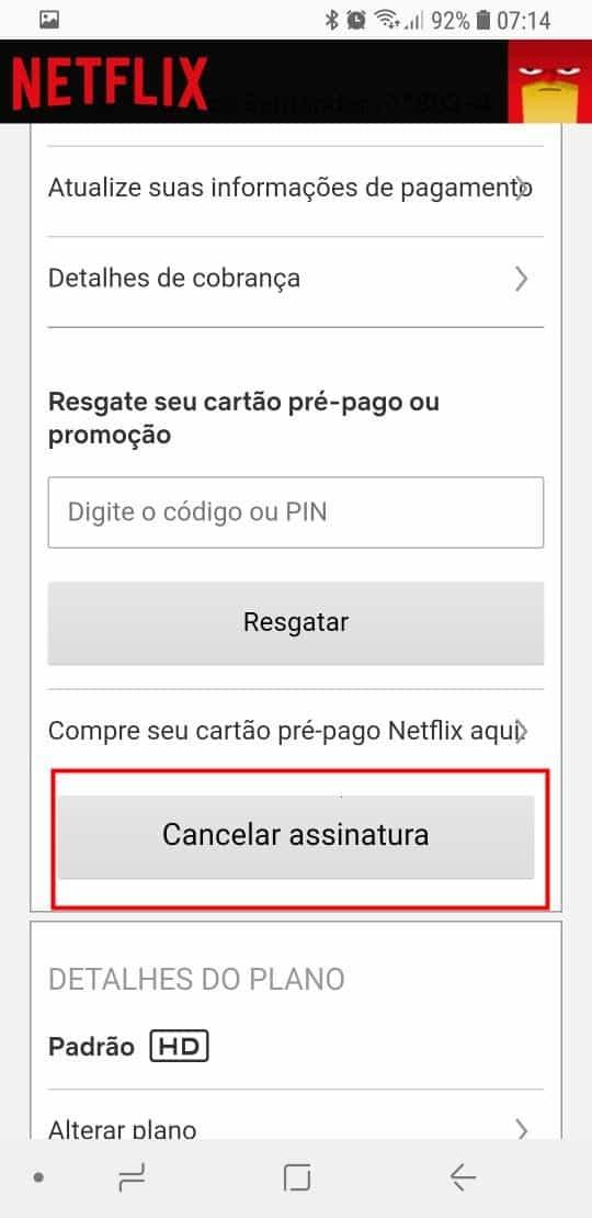 Cancelamento pelo Celular ou Tablet