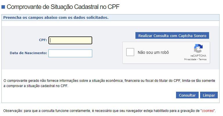 Consultar CPF pelo site da Receita Federal